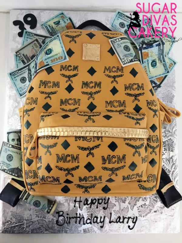 mcm backpack 3ddesigner money bills edible image handpainted