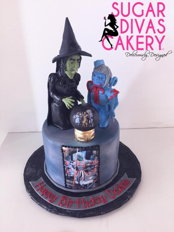 wicked witch wizard of oz moviemonkey crystal ballhandmade fondant charactersedible image