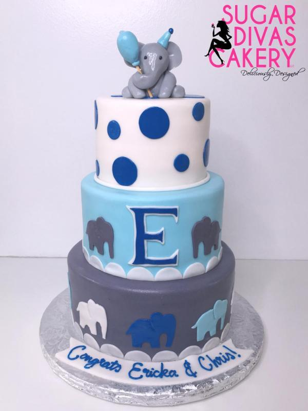 elephant 3 tierblue polka dots initial