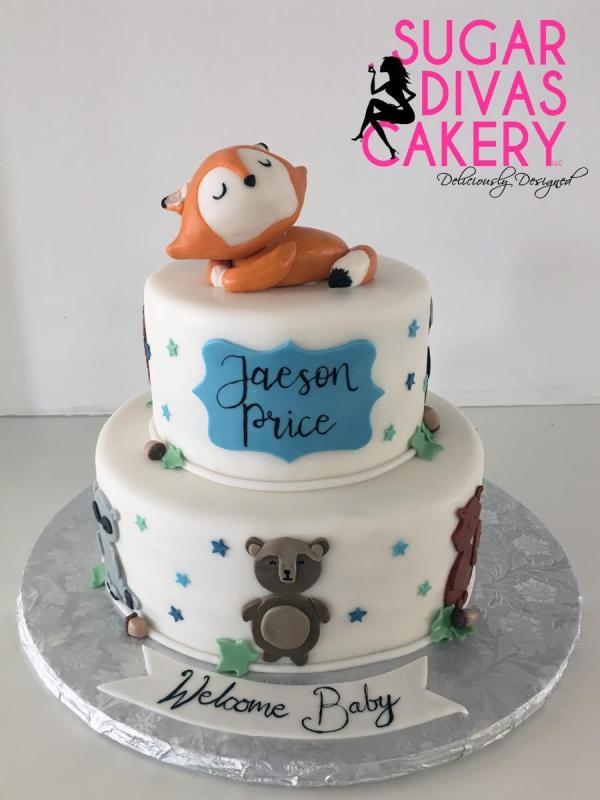 fox forest animalshandemade fondant topper