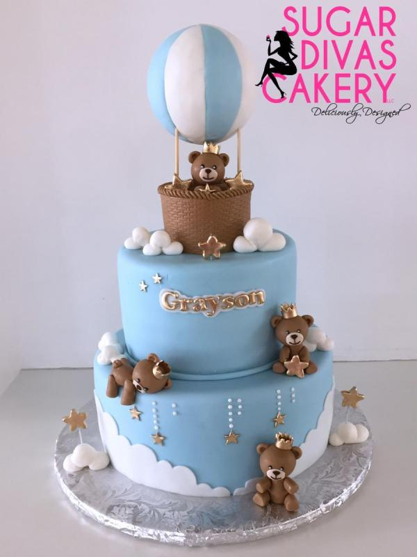 hot air balloon bears clouds starshandemade fondant animals