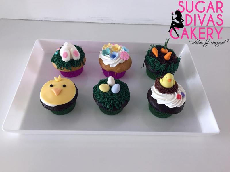 easter cupcakes chick eggs carrots bunny flowers