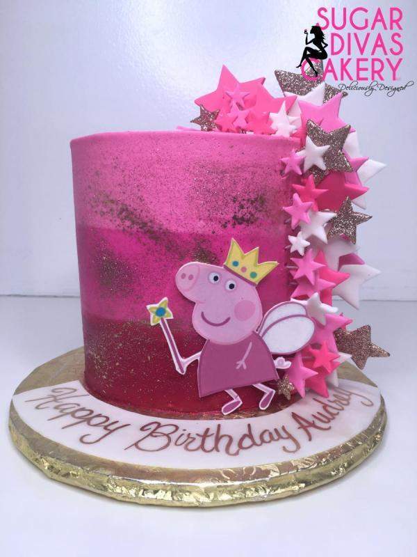 peppa pig stars pink goldcartoon tv show