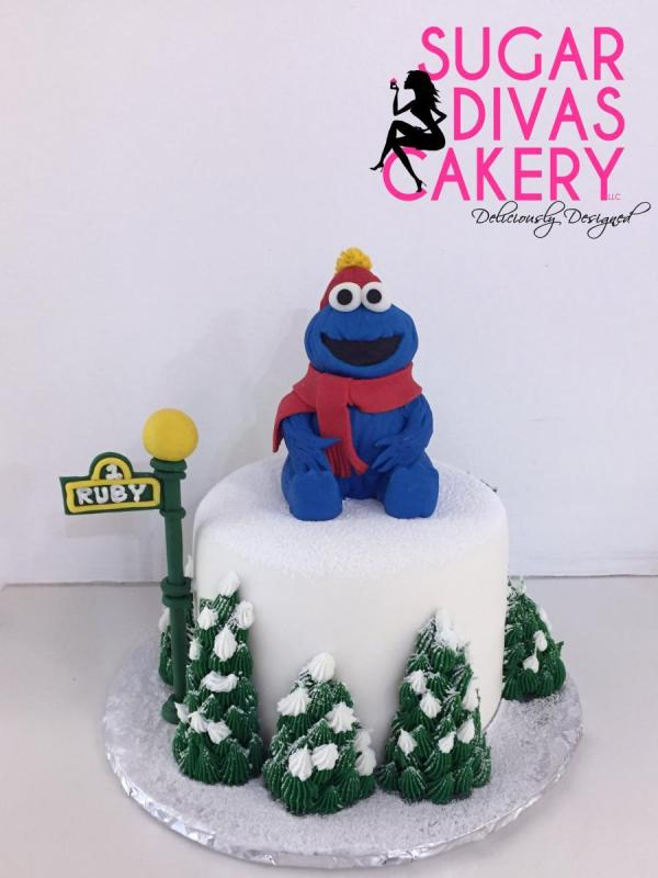 sesame street cookie monstercharacter fondant toppersignchristmas winter
