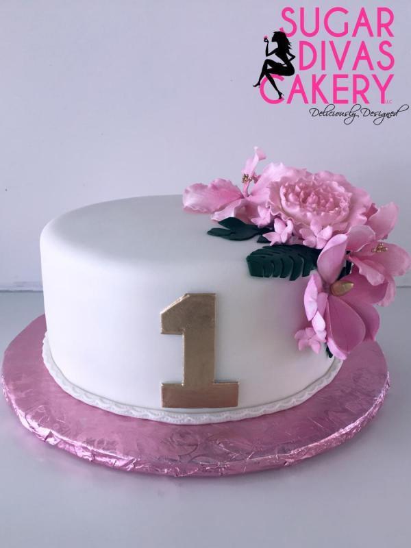 simple pink flowerswhitefirst birthday