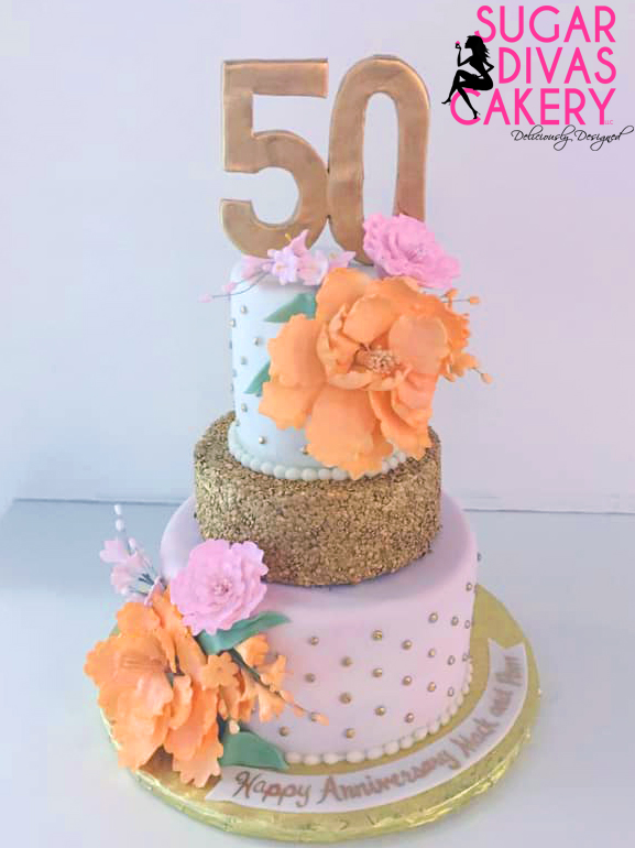 50th fiftieth birthday gold sequins bright color flowers quilted pink orange