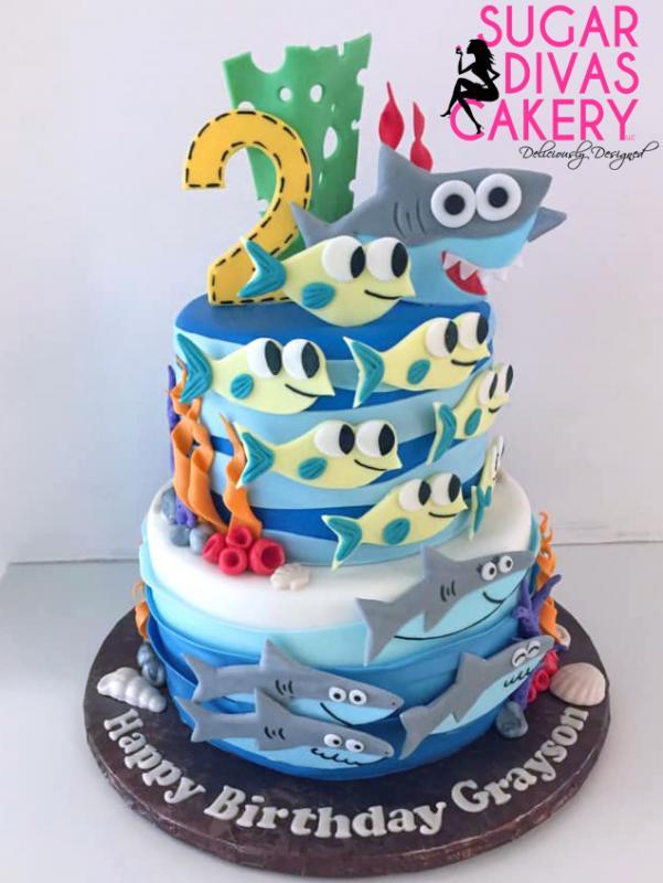 baby shark tiered2nd birthday secondcharacters cartoons song fish ocean sea underwater