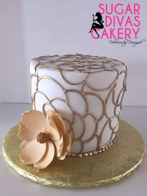 gold design piping flower simple
