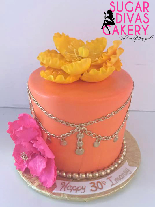 orange gold chains flowers bright colors