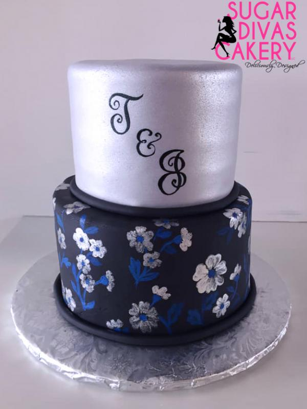 painted flowersblue black silvermonogram