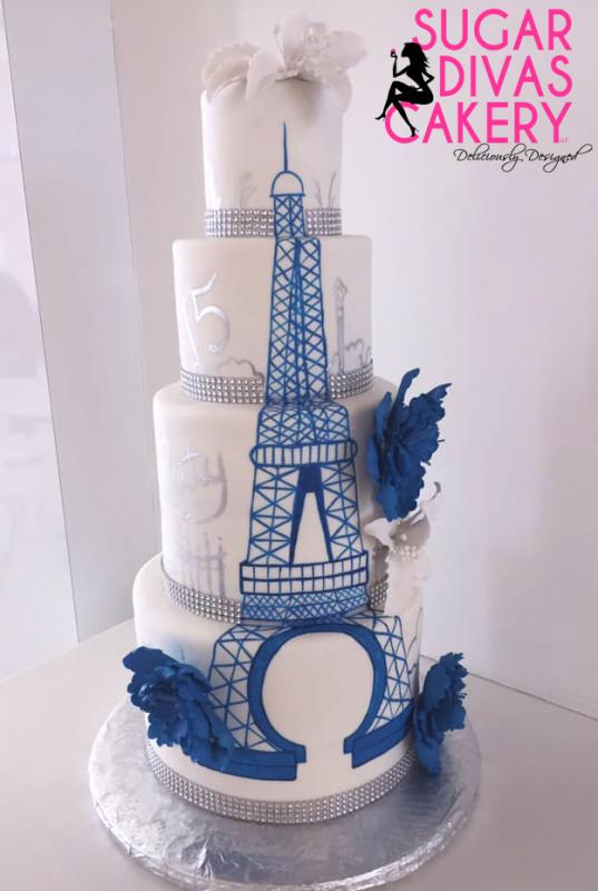 paris painted eiffel tower blue white flowers silver france