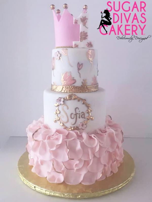 sofia pink gold rufflespainted flowers crown framefirst 1st birthday