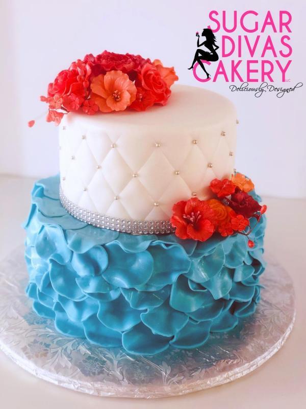 blue orangequiltedrufflesflowerssilver rhinestonesfondant
