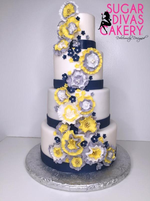 blue yellow flowersrosette flowerswhite grey graycascadingfondant